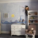 large sea wall mural in nursery